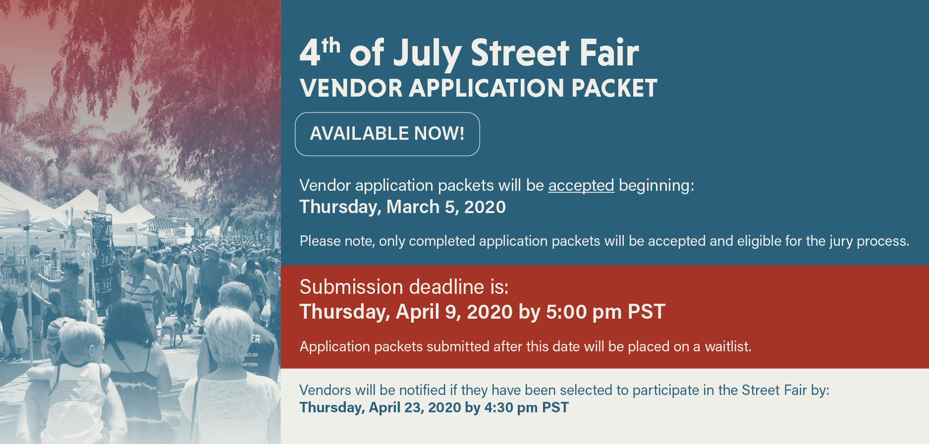 Fourth of July Street Fair - 2020 Vendor Information, Guidelines, & Applications Now Available