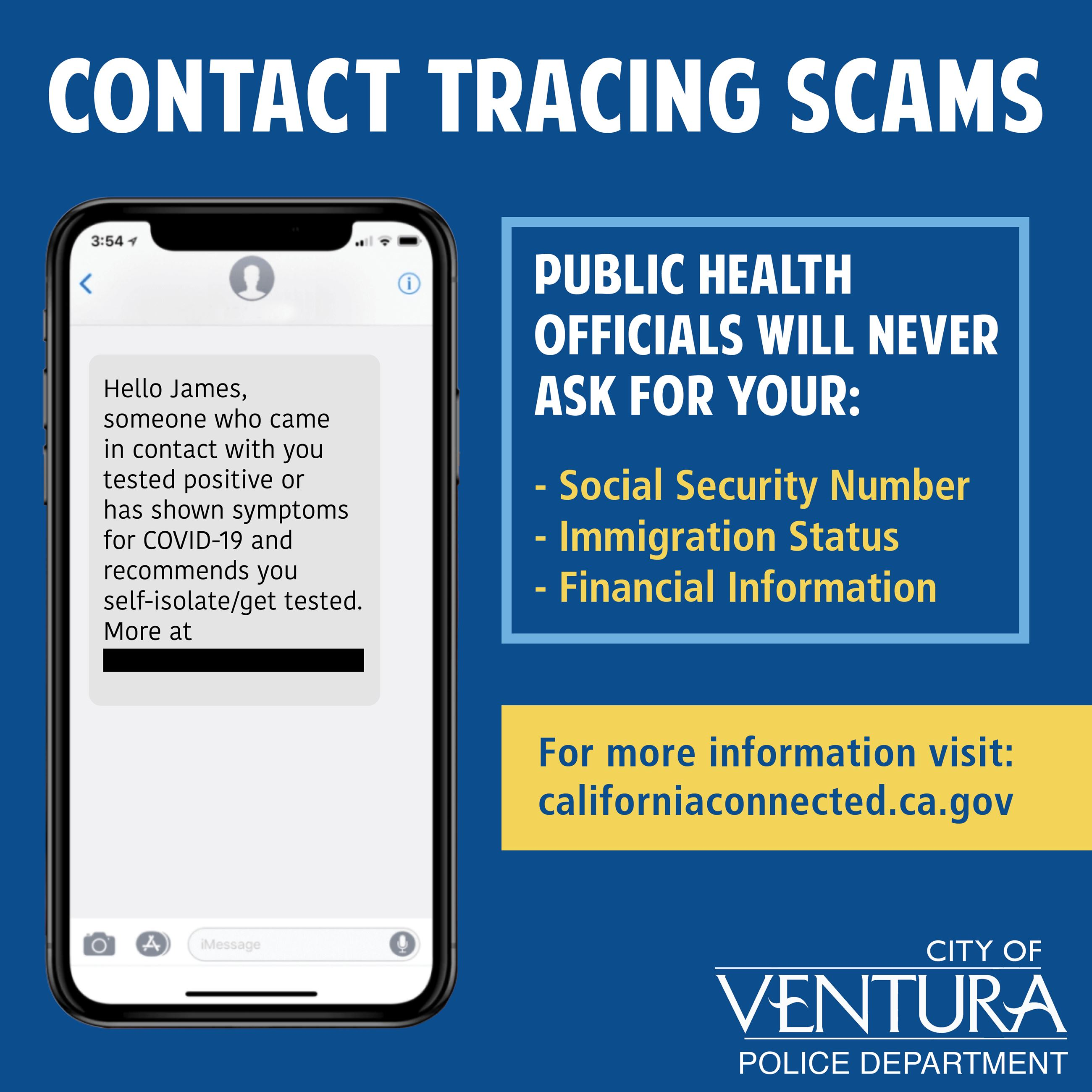 Contact Tracing Scam Alert Opens in new window